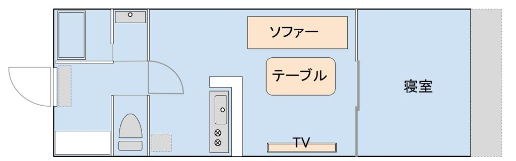 1LDK物件①(横浜)の間取りイメージ