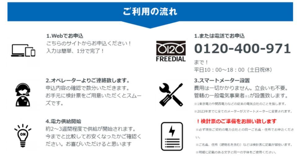ジャパン電力の利用の流れ